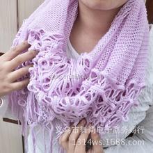 knit tassel neck warmer circle scarf 661