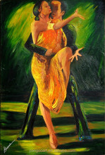 High quality pure hand-painted abstract oil painting man and woman dancing