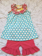 Wholesale Baby Girls Shorts Sets For Aqua Polka Dots Top Hot Pink Short In Persnickety Toddler Girl Clothing Sets