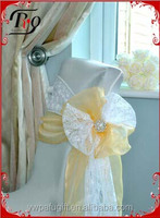 lace and organza side bow wedding chair sashes