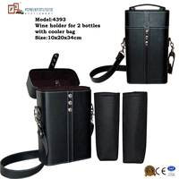 Wholesale Dual Wine Bottle Packaging Bag With Leather Handle