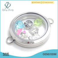 Cheap antique silver stainless steel glass floating charms locket for bracelet jewelry
