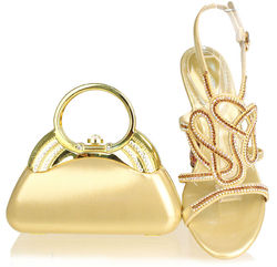 High quality gold party shoes and matching bags