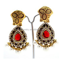 Fashion Gemstone Silver New Natural latest design of chandelier jhumka earrings for women
