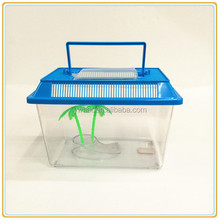 Wholesale fashion high quality Plastic mini aquarium fish tank with Cover and handle