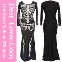 2015 sexy costumes Long Skeleton Dress Adult halloween costumes china wholesale