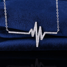 Attractive fashion long chain heart beat pendant necklace 925 sterling silver necklace jewelry