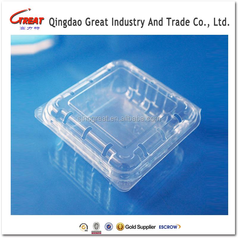 Recipiente de plástico pequeno praça limpar bagas bagas Clamshell embalagem