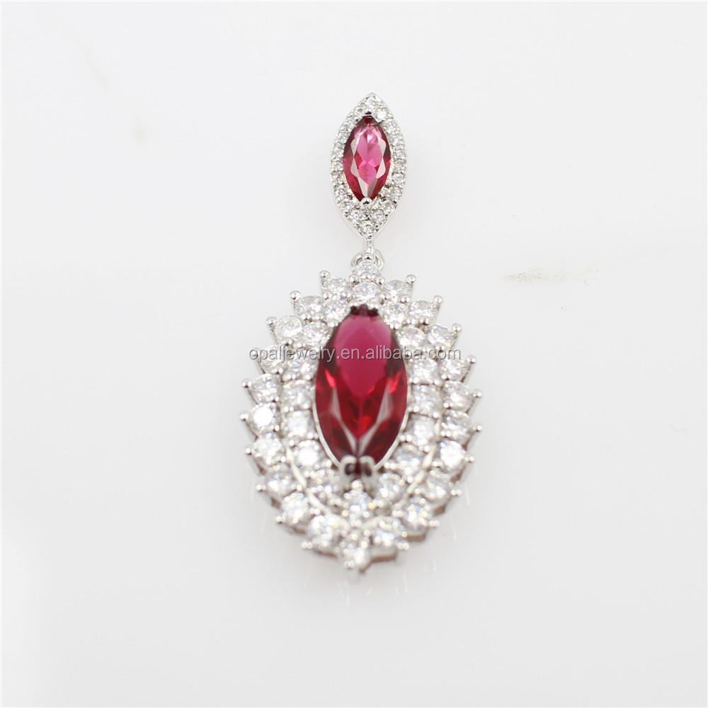 Bijoux Argent Qualité : Haute qualit? bijoux rouge marquis cz pav?e argent