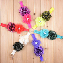 chiffon tulle mesh lace folded flower with rhinestone pearl center hair headbands accessories gifts for teenage girls baby phot