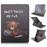 Don't Touch My Pad Warning 360 Rotating Style 12.9inch Folio Stand PU Leather Case For iPad Pro with Elastic Belt