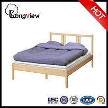 factory price solid pine wood IKEA double bed,modern design wooden bed,popular bed design furniture made in China