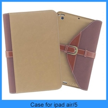 Briefcase style belt leather High quality leather case for ipad air/5/4/3/2/mini (PT-IPM205)
