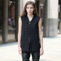 YIGELILA Women Formal Fashion Black Waistcoat 9102