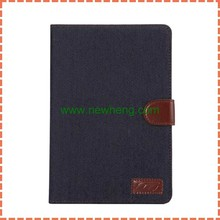 Hot Sale Denim Cowboy Canvas Pu Leather Wallet stand flip Case For Ipad Mini 4