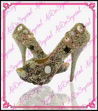 Aidocrystal 2014 Golden Crystal Bling Fabulous Clear Shining jewel High Heels for Wedding ladies fashion shoes china