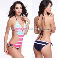 High-Grade Nylon Stripe Swimsuit Have Chest Mat No rims One -Piece Bikini
