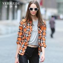 Hjc-8101a 2015 Veri Gude nuevas mujeres de Slim Fit larga de algodón puro camisas a cuadros de manga