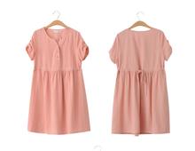 W50495Q 2015 new short-sleeved summer maternity Korean fresh V-neck cotton big yards Maternity Dress