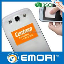 Reusable microfiber phone cleaner sticker
