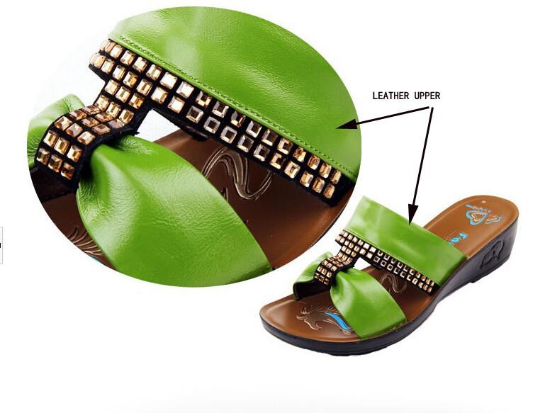 женской моды кожаные сандалии женские сандалии, Тапочки мать круто кожаные тапочки пляжные прохладно домашняя женская, Тапочки