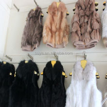 Real leather real knitted rabbit fur vest with raccoon fur collar / fur vest