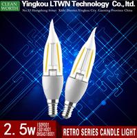 2015 hot sale high quality 2.5W E14 led retro candle light