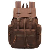 Travel Canvas Leather Backpack Sport Rucksack Camping School Satchel Hiking Bag