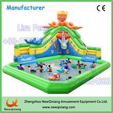 PVC inflatable water slide, outdoor large inflatable water slide pool for sale