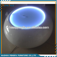 2015 Modern high gloss round led white coffee table