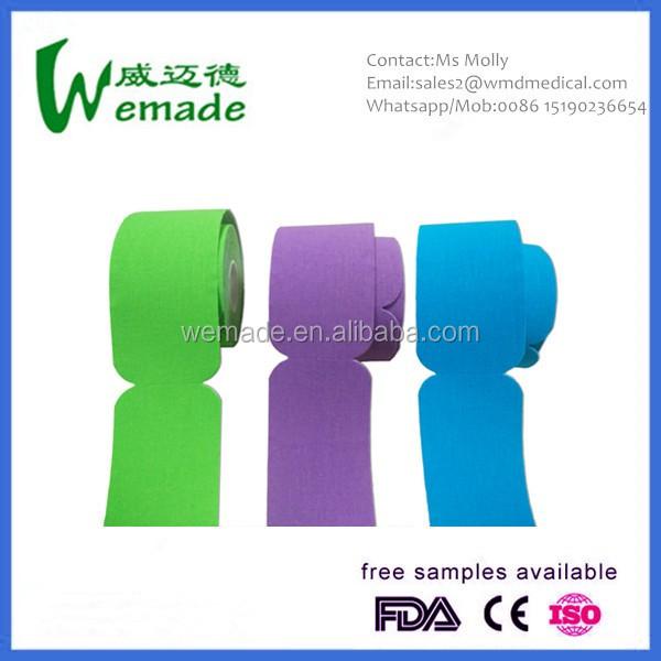 Fabrication professionnelle/Usine physiothérapie kt bande pro élastique kinésiologie muscle sport kinésiologie bande de couleur