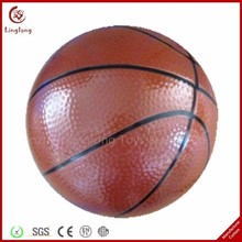 Promotional PU anti stress ball soft stuffed brown 4 inches PU leather basketball