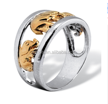 Two-tone Silver Elephant Ring Tailored Mens Ring for Wholesale