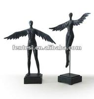 Black resin angel figurine for home decoration