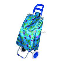 Supermarket Hand Push Plastic Shopping Cart Foldable Shopping Trolley