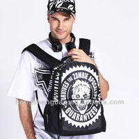 Bistar brand new style white zombie allover printing black 600D mens casual backpack BBP119