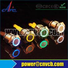 3A 250V AC 16mm illuminated pushbutton switch / 12 volt waterproof push button switch