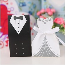 Cute Bride and Groom Tuxedo Dress Suit wedding candy boxes wedding Gift Favors with Ribbon