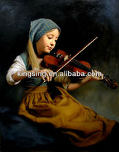 the girl playing violin of pure handpainted oil painting