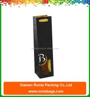 Custom Die Cut Single Wine Bottle Packaging Foldable Black Kraft Paper Wine Bag