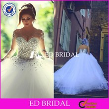 2015 New Collection Long Sleeve Beaded Crystal Bodice Ball Gown Tulle White Wedding Dress In Dubai