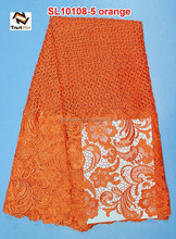 African styles cheap lace fabric wholesales fashion lace bridal lace yard SL10108 orange