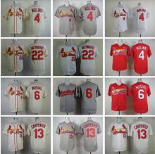 St.Louis St Louis Cardinals Yadier Molina Jersey 4 Baseball Shirt 6 Stan Musial 13 Matt Carpenter 22 Jason Heyward Blue Grey