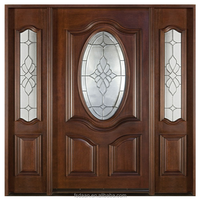 entrance wooden door with sidelites and raised panel and frost glass