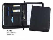 china stationery factory new arrival deluxe black porfessional leather 2 ring portfolio