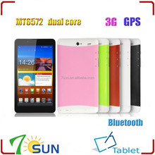 7 inch MTK6572 Dual Core 1.2Ghz CPU HD Screen Android 4.2 Tablet PC With Bluetooth GPS 3G tablet pc 3g sim card slot
