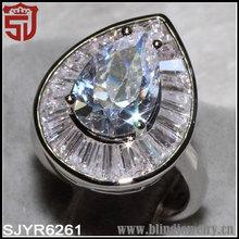 T de diamantes allanar- ajuste en forma de pera de joyería anillo de méxico