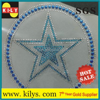 Blue star with round rhinestone hotfix heat transfer motif design logo