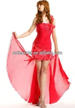 Hot Sale Pleasant Natural Waist Sheath/ Column Ruffles Chiffon Red One Shoulder Prom Party Gowns High Low Backless
