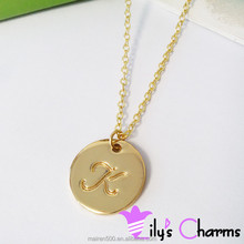 Cheap fashion newest initial alphabet letter dis pendant necklace